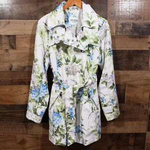 Guess NWOT double breasted floral trench coat